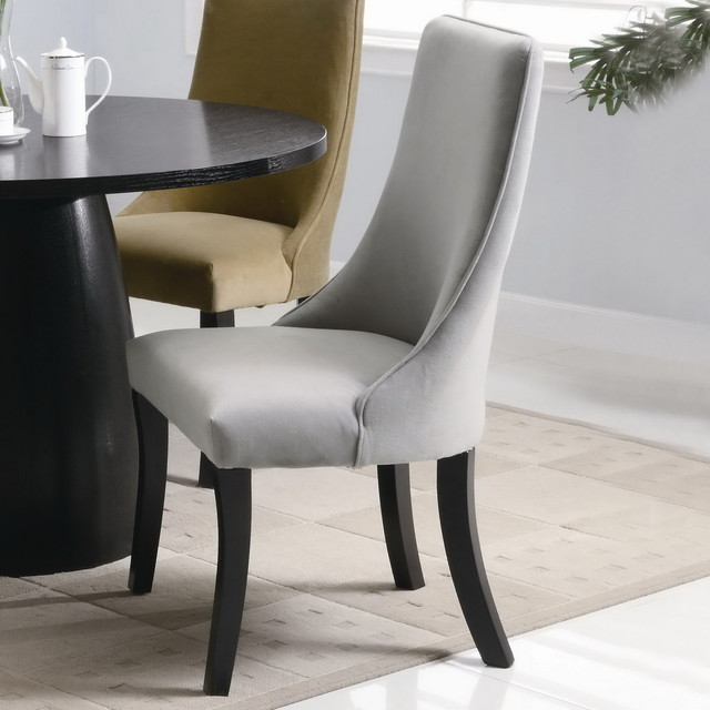 gray upholstered dining side chair set of two transitional dining