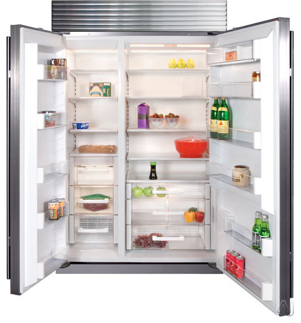 Built-in Side by Side Refrigerator with 4 Adjustable Spill-Proof Glass Shelves modern