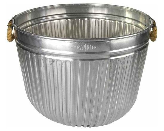 """Galvanized Tub With Rope Handles - This Franklin two bushel fluted galvanized tub looks new, but is really """"new old stock"""".Riveted base and sturdy rope handles.  From the Scotch Grove Collection."""