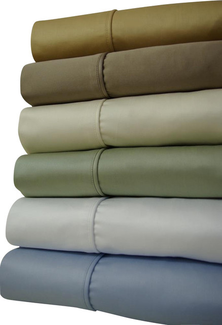 "16"" Deep Pocket - 1500TC Solid Egyptian Cotton Bed Sheet Sets traditional-sheets"