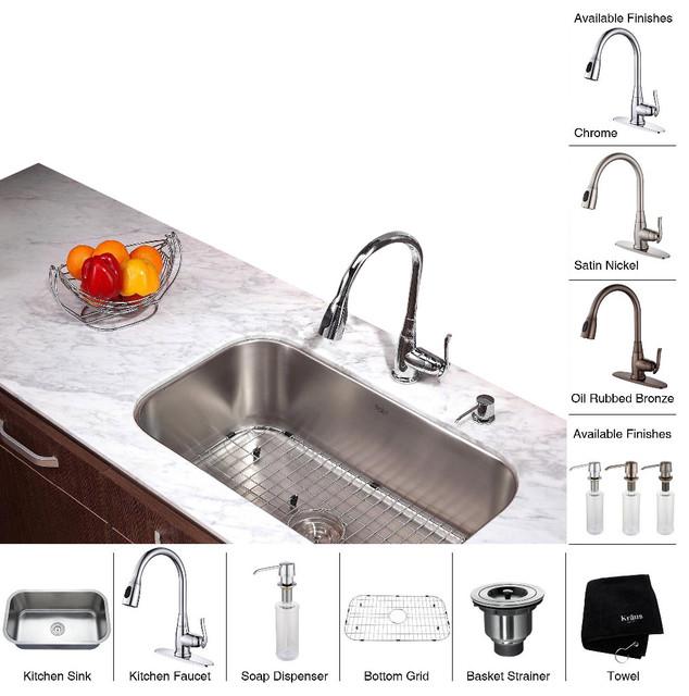 Kraus 30 inch Undermount Single Bowl Stainless Steel Kitchen Sink with Chrome Ki modern-kitchen-sinks