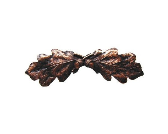 """Inviting Home - Oak Leaf Pull (antique copper) - Hand-cast Oak Leaf Pull in antique copper finish; 4""""W x 1-1/2""""H; Product Specification: Made in the USA. Fine-art foundry hand-pours and hand finished hardware knobs and pulls using Old World methods. Lifetime guaranteed against flaws in craftsmanship. Exceptional clarity of details and depth of relief. All knobs and pulls are hand cast from solid fine pewter or solid bronze. The term antique refers to special methods of treating metal so there is contrast between relief and recessed areas. Knobs and Pulls are lacquered to protect the finish."""
