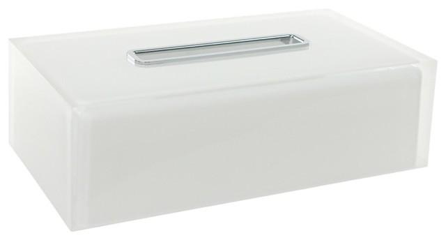 Thermoplastic Resin Rectangular Tissue Box Cover White