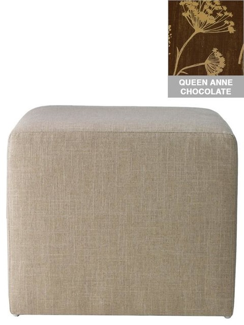 Custom Fletcher Upholstered Ottoman traditional-ottomans-and-cubes