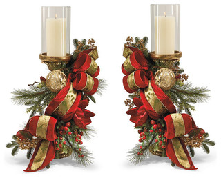 Set Of Two Christmas Joy Decorated Candle Holders
