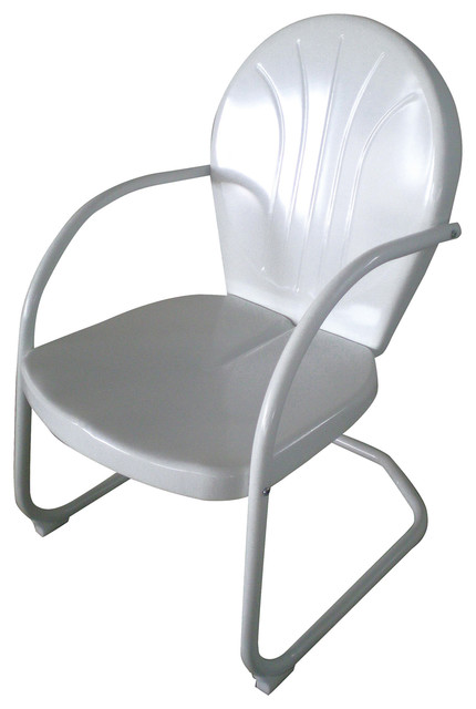 amerihome retro style metal lawn chair white modern outdoor lounge chairs. Black Bedroom Furniture Sets. Home Design Ideas