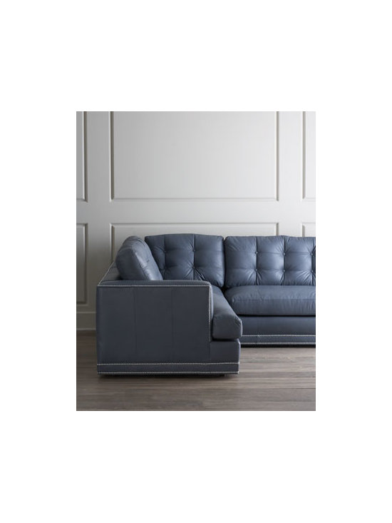 Horchow - Estacado Sectional Sofa - Create the perfect conversation pit with this generously scaled, four-piece sectional sofa. With a gorgeous linear design, button-tufted back cushions, and nailhead trim highlighting the exterior of the frame, it's sure to be a crowd pleaser. Premium do...