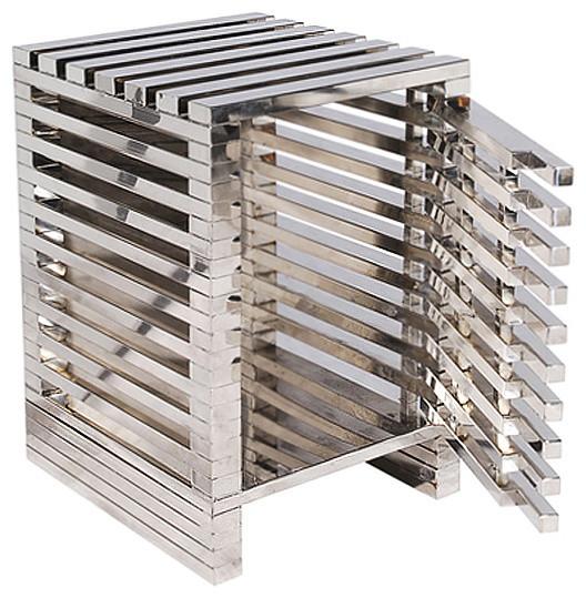 Zazenne Modern Metal Slats Masculine Side End Table transitional-nightstands-and-bedside-tables