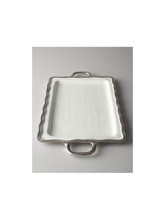 "Horchow - Deville Tray with Handles - We love the slight ripple effect of the edge of this elegant tray. It looks spectacular on a buffet or coffee table or atop a large ottoman. Made of enamel edged with molded, distressed aluminum. Food safe. Hand wash. 22.5""L x 13.5""D x 1""T. Imported."
