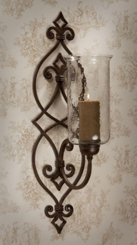 Scroll Wall Sconces Candles : Bronze Iron Scroll Candle Sconce with Hammered Globe - Modern - Wall Sconces