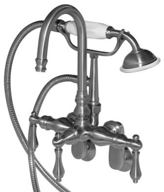 American Bath Factory Rim/Wall Mount Tub Faucet with Hand Shower - Adjustable Ce modern-bathroom-faucets