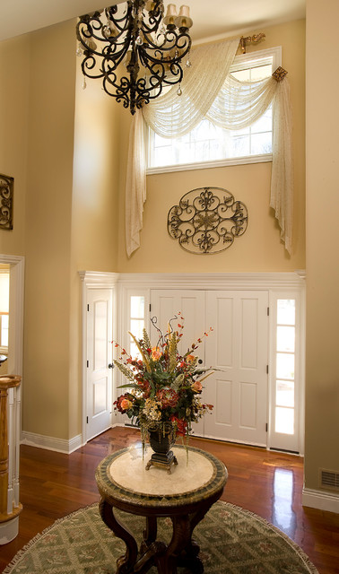Foyer Door Curtains : Story foyer window treatment traditional entry new