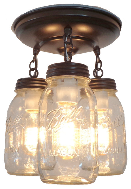 Mason Jar Light Fixture Trio of New Quarts Oil Rubbed Bronze Farmhouse F