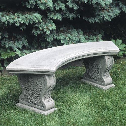 Campania International Curved Woodland Ferns Cast Stone Backless Garden Bench Traditional