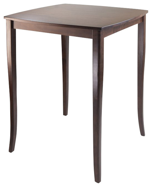 Winsome Inglewood High Table with Curved Top in Antique Walnut Finish transitional-indoor-pub-and-bistro-sets