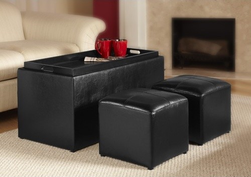 Designs4Comfort Sheridan Storage Bench with Ottoman Set modern-accent-and-storage-benches