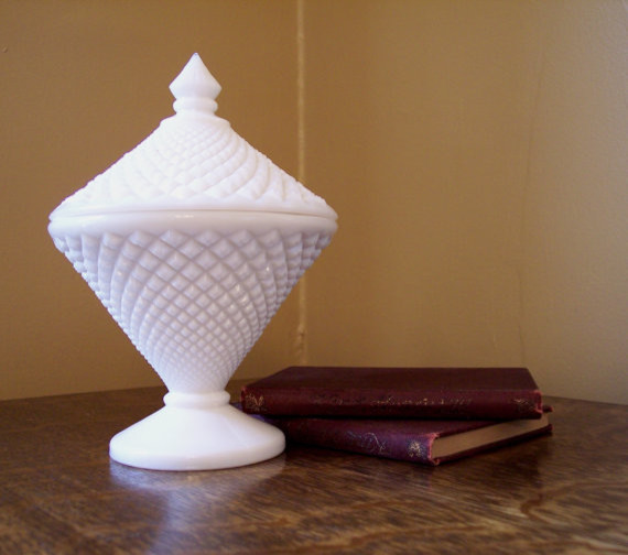 Milk Glass Covered Candy Dish by Sherwood Vintage eclectic-serveware