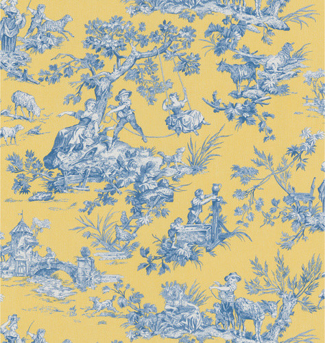 Brewster Wallcovering Blue and Yellow Toile Wallpaper -