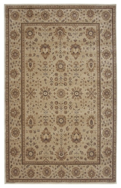 """Traditional Bellevue 7'10""""x10'10"""" Rectangle Ivory Area Rug traditional-rugs"""