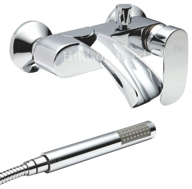 Reign Open Spout Bath Filler Tub Mixer Faucet With Handshower Kit & Wall Bracket modern-showerheads-and-body-sprays