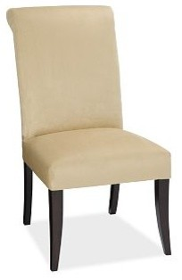 PB Comfort Upholstered Dining Side Chair, Chenille Tweed Mink traditional-dining-chairs