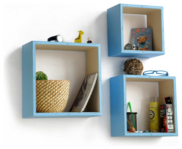 Pure Blue And White Square Leather Wall Shelf Floating Shelf Set Of Contemporary Display And Wall Shelves