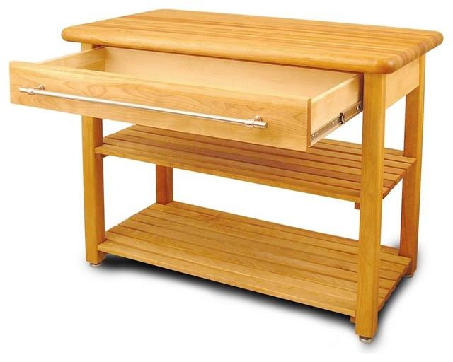 Contemporary Harvest Work Table w Drawer - Fr contemporary-kitchen-islands-and-kitchen-carts
