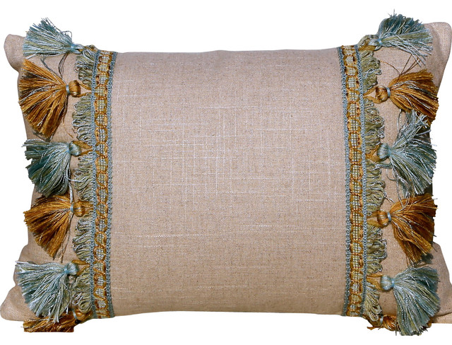Lumbar Linen Pillow In Natural Color With Blue And Bronze