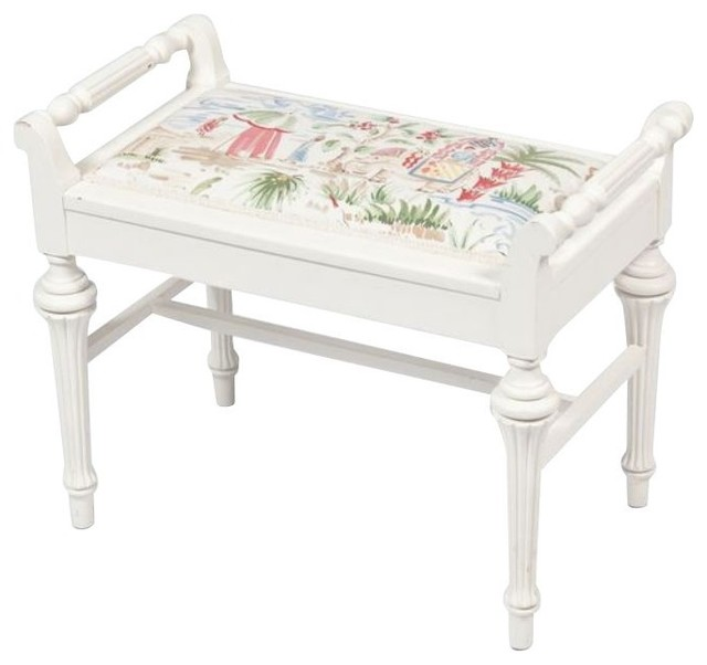 small white bench with chinoiserie seat