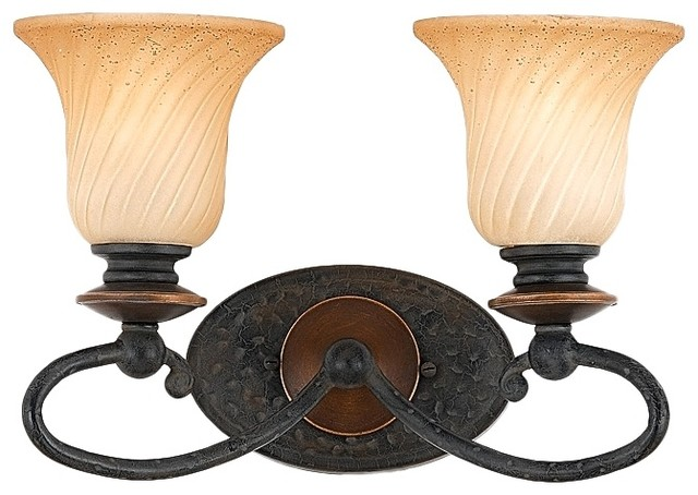 Country Cottage Genova Collection 15 1 2 Wide Two Light Bathroom Fixture Traditional