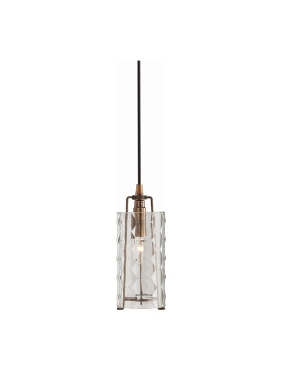 Arteriors Ice Faceted Small Clear Glass/Iron Pendant - Ice Faceted Small Clear Glass/Iron Pendant