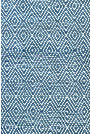 Dash and Albert Rugs Woven Diamond Denim, White Indoor/Outdoor Rug eclectic rugs