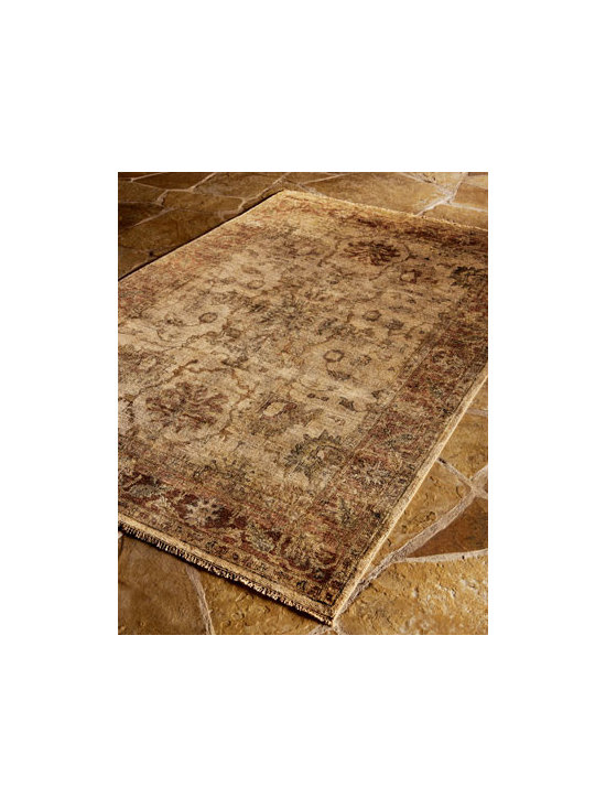 Horchow - Latte Rust Oushak Rug, 8' x 10' - Hand-knotted wool rug has a subtle, complex design set against a background the color of a rich, creamy latte, bordered in a glowing shade of rust. Imported. Sizes are approximate. NOTE: A special heirloom wash produces the subtle color variations th...