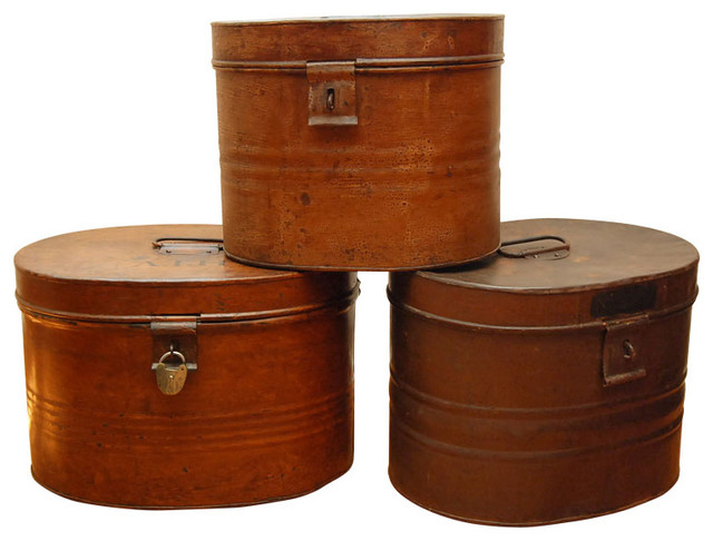 Metal Hat Boxes traditional-storage-bins-and-boxes