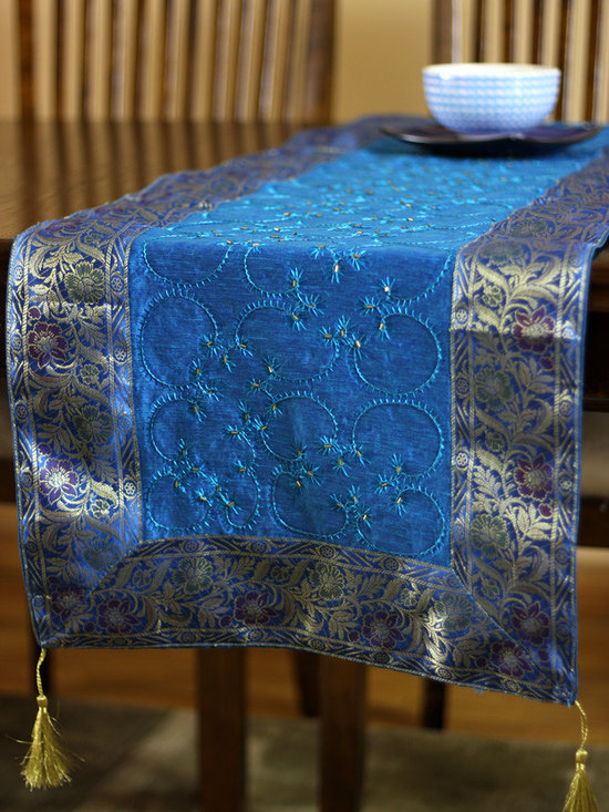 """Elegant Table Runners - Stunning """"Ocean Blue"""" Table Runner. Embroidered by hand in India. Dupion fabric. Perfect decor idea to embellish your room."""