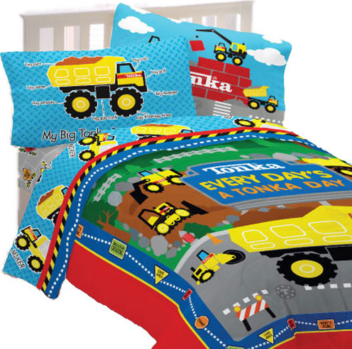 Tonka trucks twin bedding set dump truck world bed contemporary kids bedding by obedding - Dump truck twin bed ...