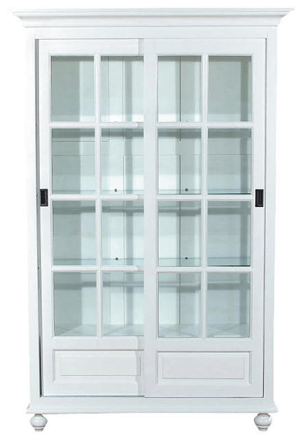 White Curio China Display Cabinet - Traditional - Home ...