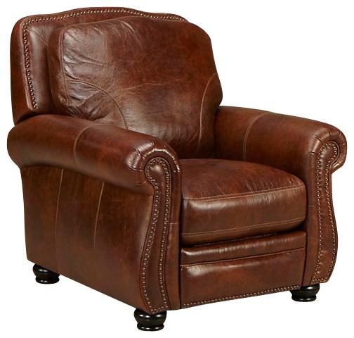 Simon Li Furniture Press Back Recliner Medium Brown