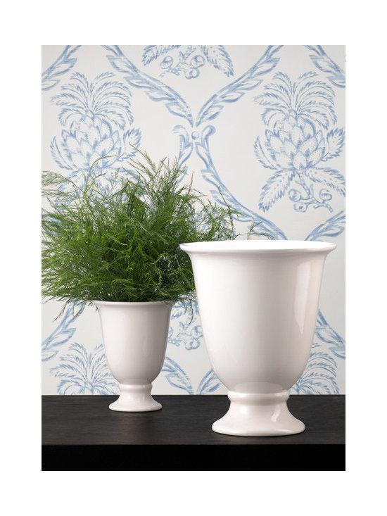 White Porcelain Urn Flower Vase -