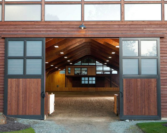 """Custom Stained Cedar Siding at Circle B Ranch - This 8"""" Western Red Cedar Bevel Siding was factory pre-stained to with Messmer's Semi-Transparent Oxford Brown to provide protection as well as enhance the color.  Craftsmanship by RGN Construction."""