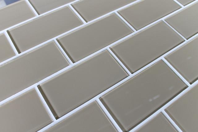 "Beach Brown 3"" x 6"" Glass Subway Tile traditional-tile"