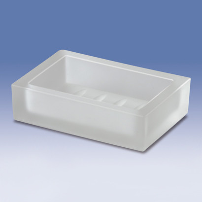 Rectangle Frosted Crystal Glass Soap Dish - Contemporary - Soap Dishes & Holders - by TheBathOutlet