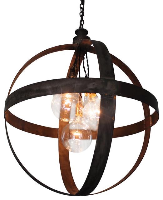 large steel band sphere pendant black iron industrial