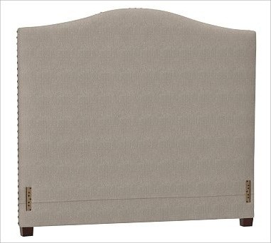 Raleigh Nailhead Camelback Headboard, Full, Washed Linen/Cotton Stone traditional-headboards