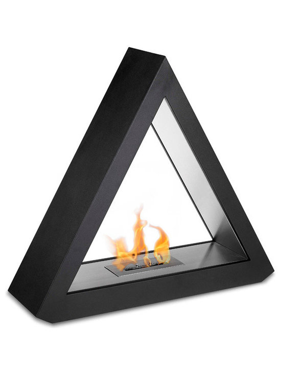 Moda Flame - Burgos Free Standing Floor Indoor Outdoor Ethanol Fireplace - Burgos is a contemporary triangular shaped fireplace which is boldly modernized due to its whimsical geometric figure. Made from a black powder coated steel outer frame and an all stainless steel inner frame, it makes a remarkable statement as the centerpiece of any setting.