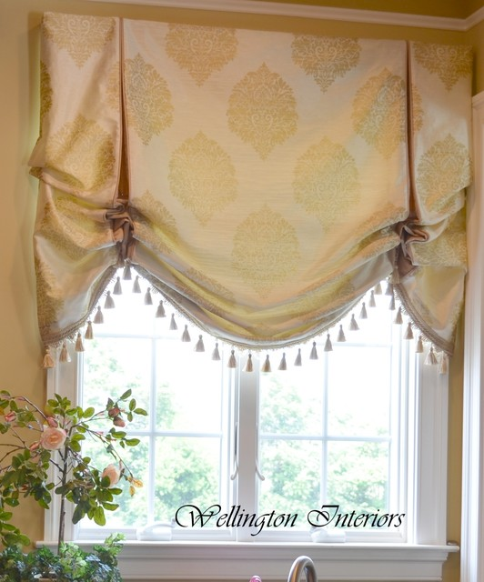 Custom window treatments traditional roman shades for Custom window treatments