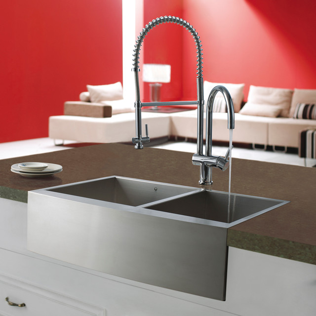 Modern Stainless Steel Sink Part - 23: Stainless Steel Kitchen Sink And Chrome Faucet Modern-kitchen-sinks
