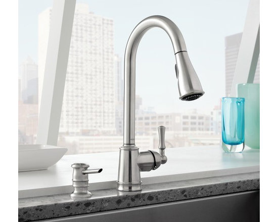 Moen Lancaster Spot resist stainless one-handle high arc pulldown kitchen faucet - Product Features