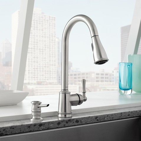 Moen Lancaster Spot Resist Stainless One Handle High Arc Pulldown Kitchen Faucet Kitchen