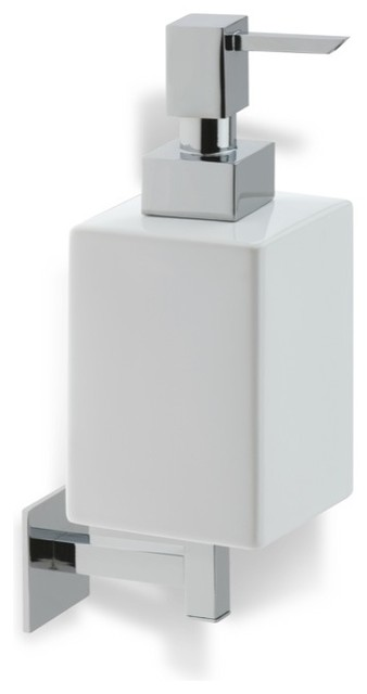 Wall Mounted Square White Ceramic Soap Dispenser, Chrome modern-bathroom-accessories